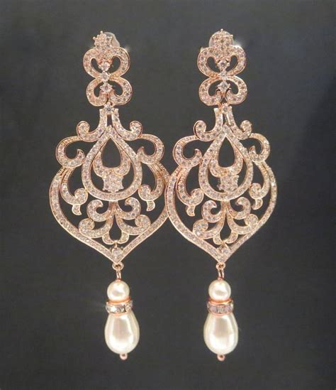 Rose Gold Bridal Jewelry Rose Gold Wedding Earrings Gold Bridal Earrings Chandelier