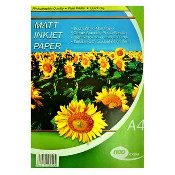 100 Mat Packs by 100 Pack Of A4 128gsm Matt Photo Paper Ln47278 Neo 128