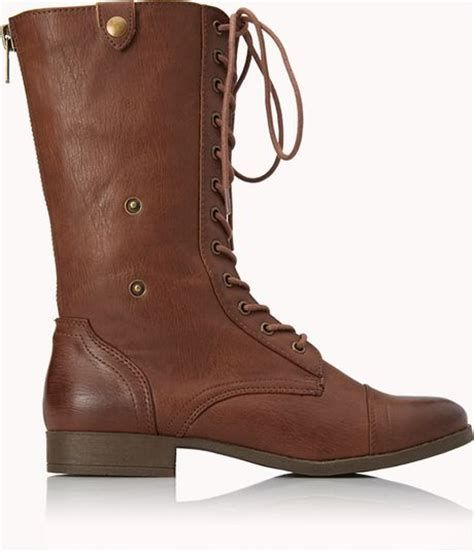 combat boots for forever 21 forever 21 pretty tough combat boots in brown lyst