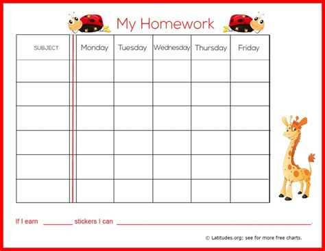 homework reward charts printable free weekly homework sticker chart primary acn latitudes
