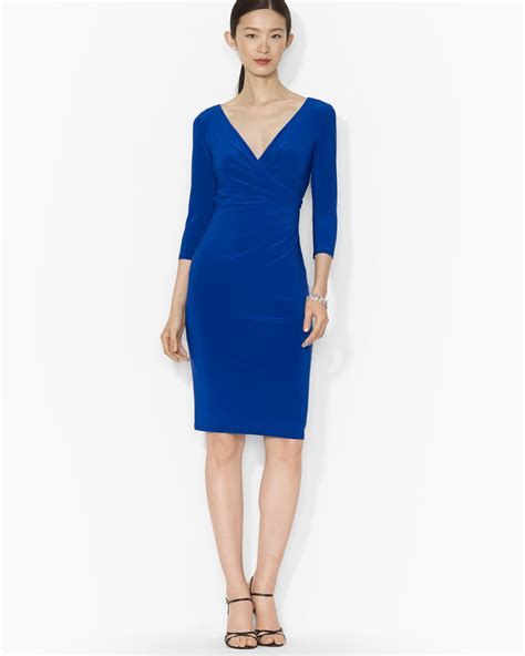ralph dress v neck three quarter sleeve jersey in blue lyst