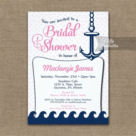 printable nautical bridal shower invitations pink nautical bridal shower invitation retro printed