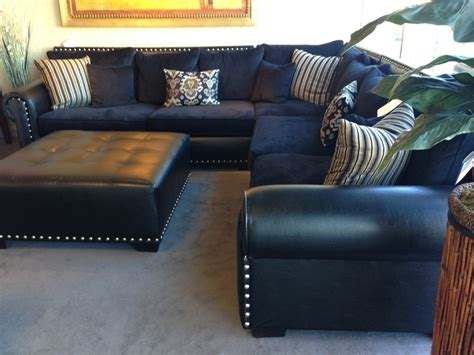 Navy Sectional Leather Cloth Mix Ehhh Living Room