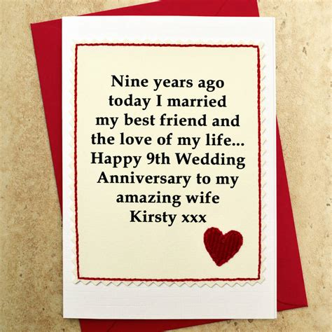 personalised 9th wedding anniversary card by arnott cards gifts notonthehighstreet