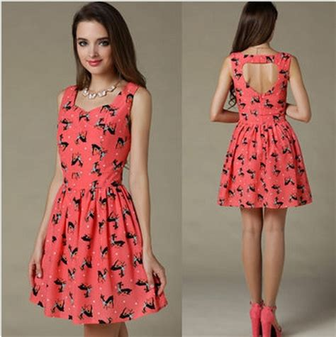 one dresses for vintage back cutout print racerback chiffon one