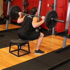 squats to bench barbell squat to a bench exercise guide and video