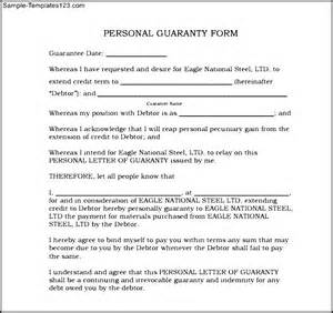 Personal Agreement Letter Template Personal Guarantee Form Personal Guarantee Form Exle Personal Guarantee Form Exle