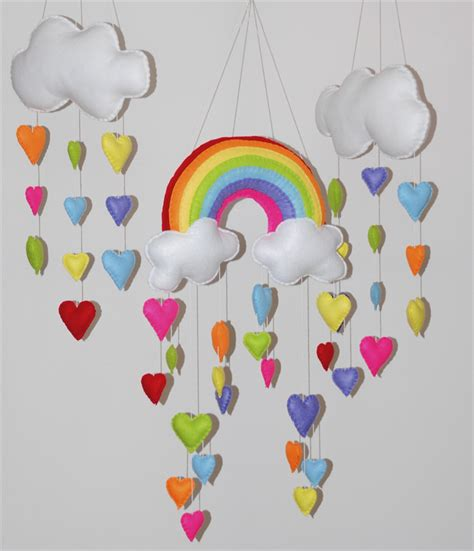 Handmade Baby Mobiles Australia - rainbow and hearts set of 3 nursery baby mobile razzle
