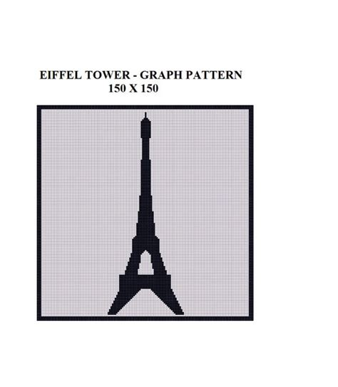 crochet pattern eiffel tower graph pattern paris eiffel tower landmark afghan