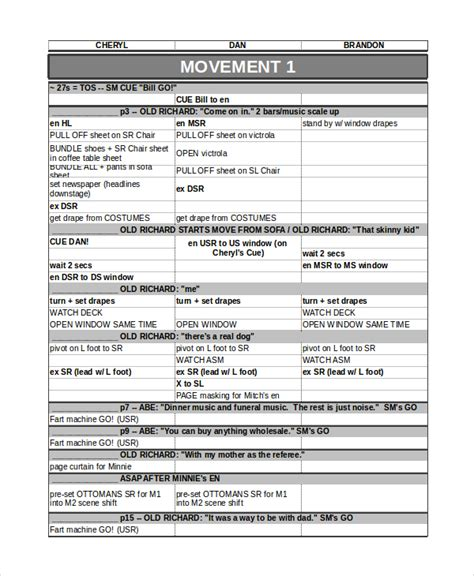 event run sheet template run sheet template 6 free word excel pdf document
