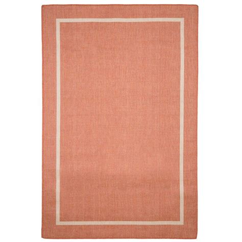 indoor outdoor area rugs home depot border orange 5 ft x 7 ft 7 in indoor outdoor area rug 62 4328 t the home depot