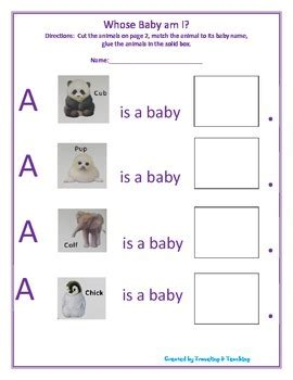 Whose Baby Is This whose baby am i worksheet by traveling and teaching tpt