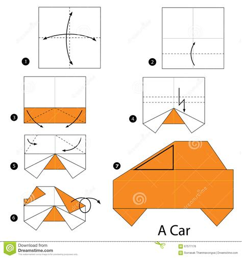 Paper Car Origami - step by step how to make origami a car stock