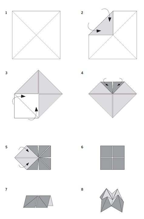 Fold Paper Fortune Teller - paper folding crafts fortune
