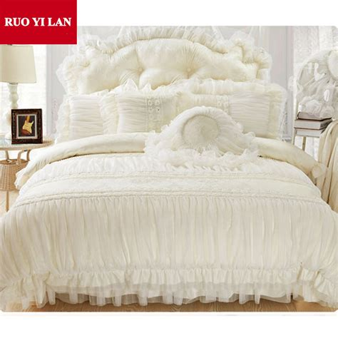 Sprei Bed Cover Home Silk Hs42 cotton jacquard princess bedding set 4pcs silk lace ruffles duvet cover bedspread bed skirt