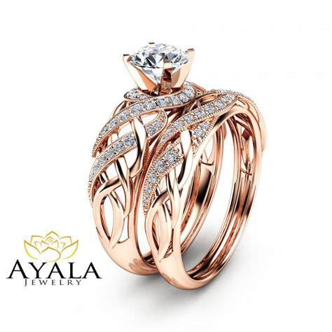 bridal rings bridal set in 14k gold unique engagement