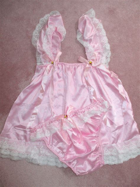 sissy baby doll dress pretty baby doll satin sissy dress and panty size s pink