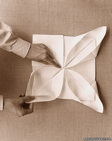 Paper Napkin Folding Styles - lotus napkin fold