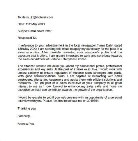email cover letter exle 10 download free documents
