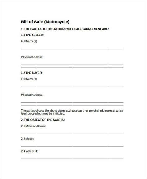 motorcycle bill of sale bill of sale form in word