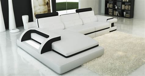 Deco In Canape Cuir D Angle Blanc Avec Deco In Canape D Angle Cuir Blanc Et Noir Design
