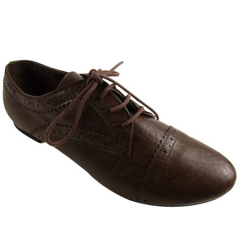 new brown pu leather brogues shoes womens classic