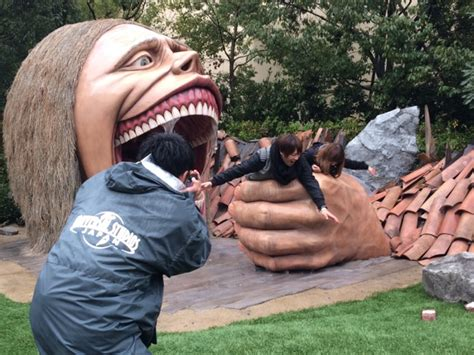 Attack On Titan Statues Are Japanese Tourists