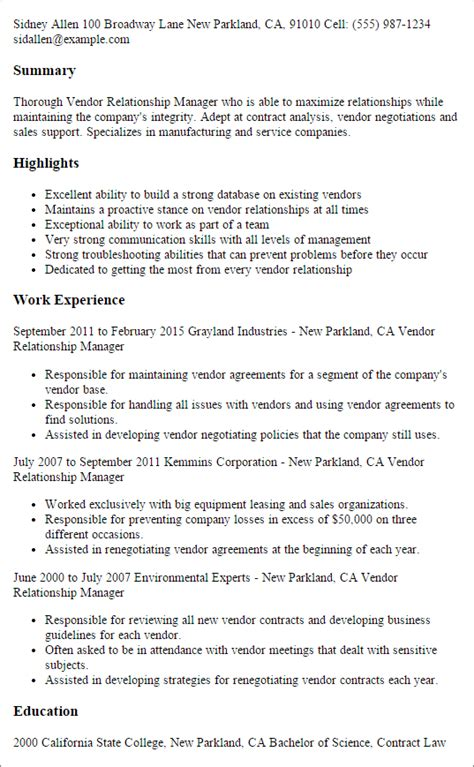 Resume Sles Vendor Management Professional Vendor Relationship Manager Templates To Showcase Your Talent Myperfectresume