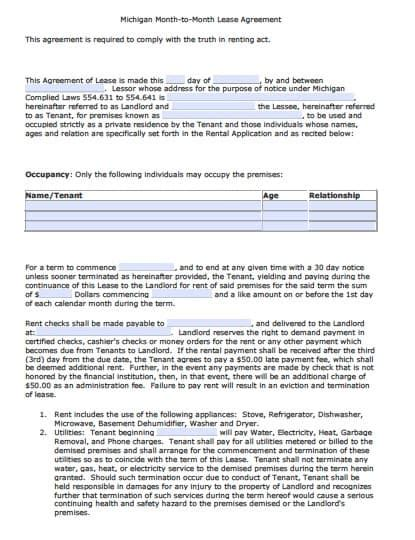 Free Michigan Month To Month Rental Agreement Pdf Word Rental Agreement Template Michigan