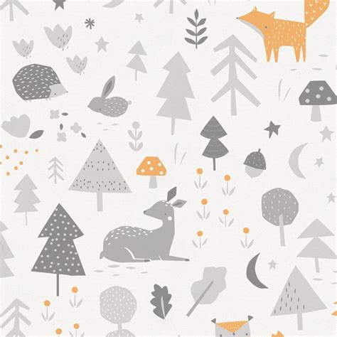 Home Decor Owl Light Orange And Silver Gray Baby Woodland Fabric By The