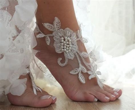 Lace Sandals Wedding by Ivory Wedding Barefoot Sandals Floral Lace Sandals