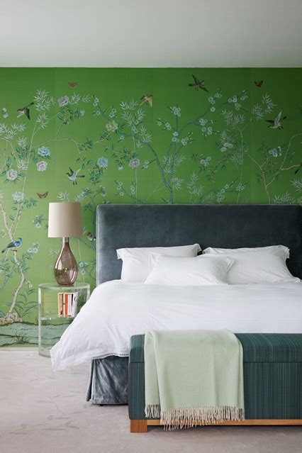 green bedroom feature wall green de gournay bedroom design ideas houseandgarden co uk