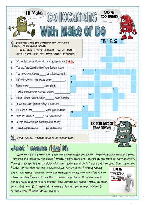pattern drills in language teaching do and make collocations worksheet free esl printable