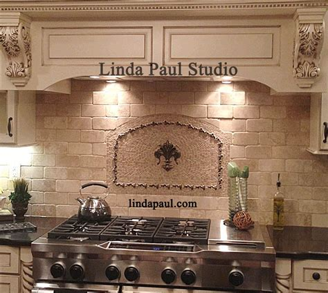 kitchen backsplash medallions fleur de lis mosaic and metal arched medallion backsplash