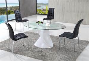 Orbital clear frosted glass dining table with akira dining chairs set