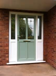 Upvc Front Doors Fitted Front Door In Chartwell Green With White Upvc Side Panels