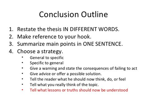 how to write a conclusion to a paper conclusion outline