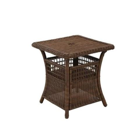 Umbrella Side Table Hton Bay Brown All Weather Wicker Patio Umbrella Side Table 65 371sq The Home