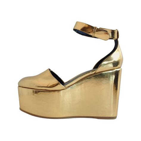 gold metallic platform sandals at 1stdibs