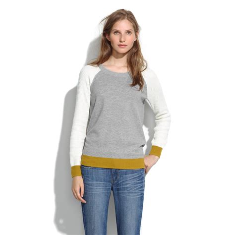 Fashion Find Sweater Jackets by Lyst Madewell Waffle Stitch Colorblock Sweater In Gray