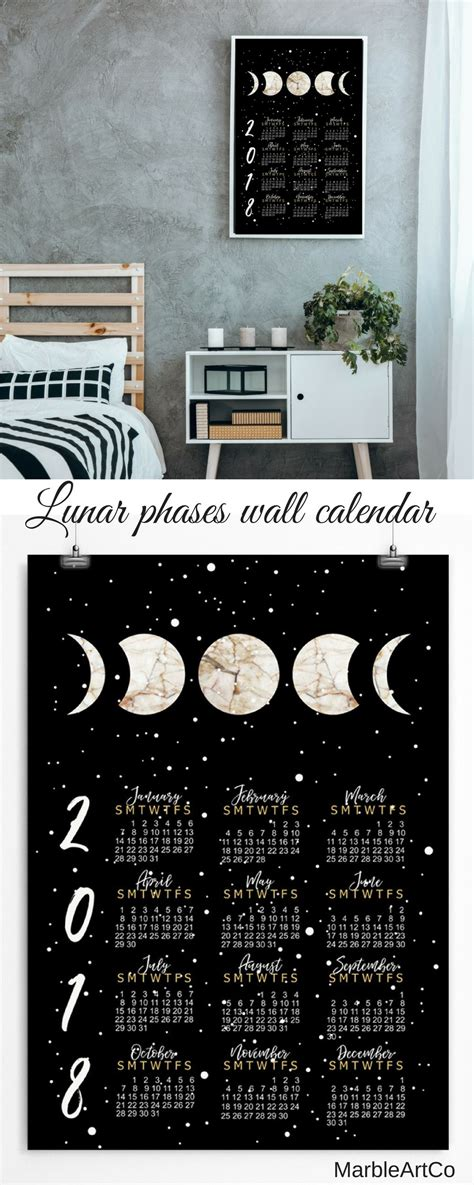 Lunar Phases Wall black lunar phases wall calendar 2018 will become a