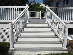 gray deck gray deck with white railings railing posts and white