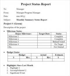 Sample Project Report Template Project Status Report Template 8 Download Free