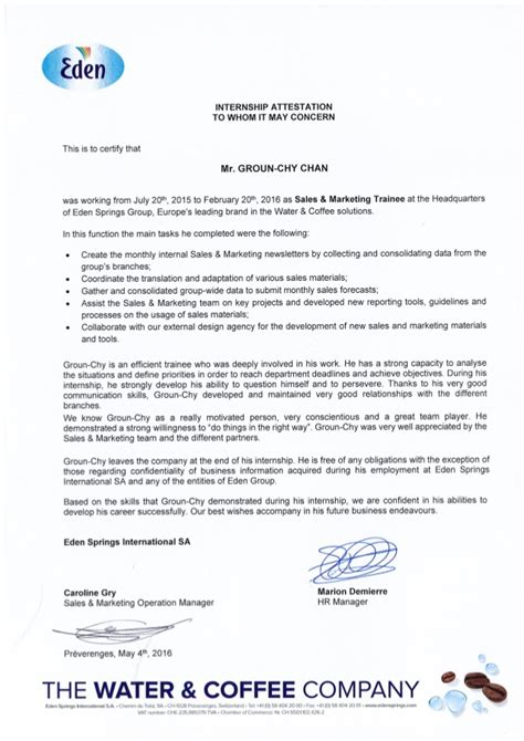 Attestation Letter To A Recommendation Letter Internship Attestation