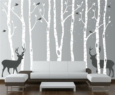 vinyl wall decal forest tree birch tree wall decal forest with birds and deer vinyl sticker removable nursery ebay
