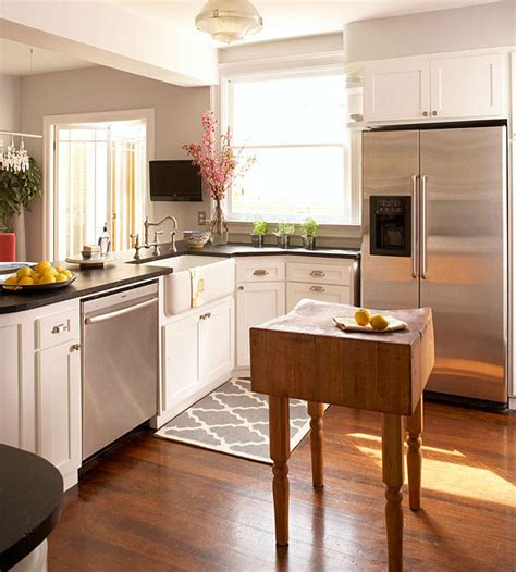 Small Kitchen With Island Ideas Small Space Kitchen Island Ideas Bhg