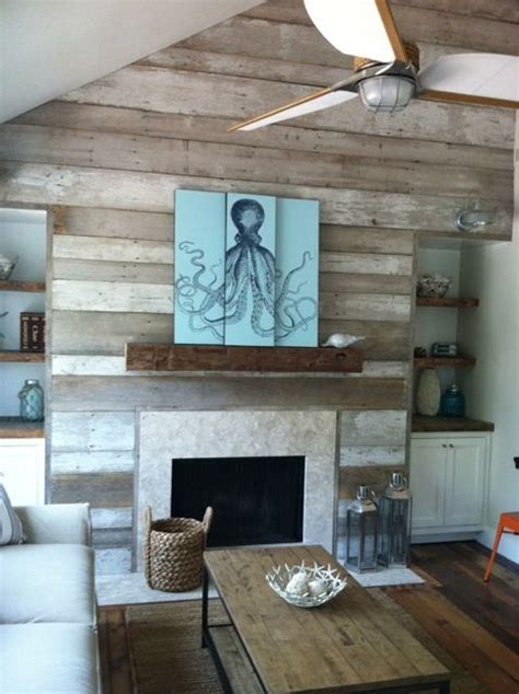 reclaimed wood accent wall fireplace via