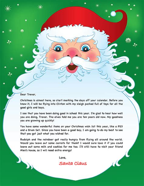 personalized letters from santa santa letter exle personalized letters from santa