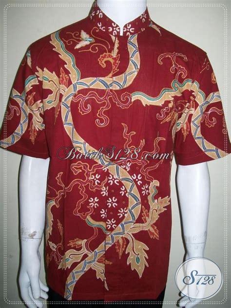 Koko Batic Pendek batik koko pria lengan pendek kerah shanghai motif modern
