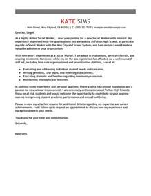 cover letter sles for social workers best social worker cover letter exles livecareer
